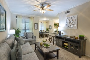 Two Bedroom Apartments for Rent in Northwest Houston, TX - Model Living Room. Dining Room & Breakfast Bar